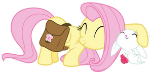 Fluttershy and Angel snuggle