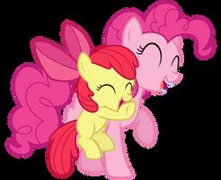 Pinkie Pie and Apple Bloom hugs
