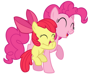 Pinkie Pie and Apple Bloom hugs by thatguy1945
