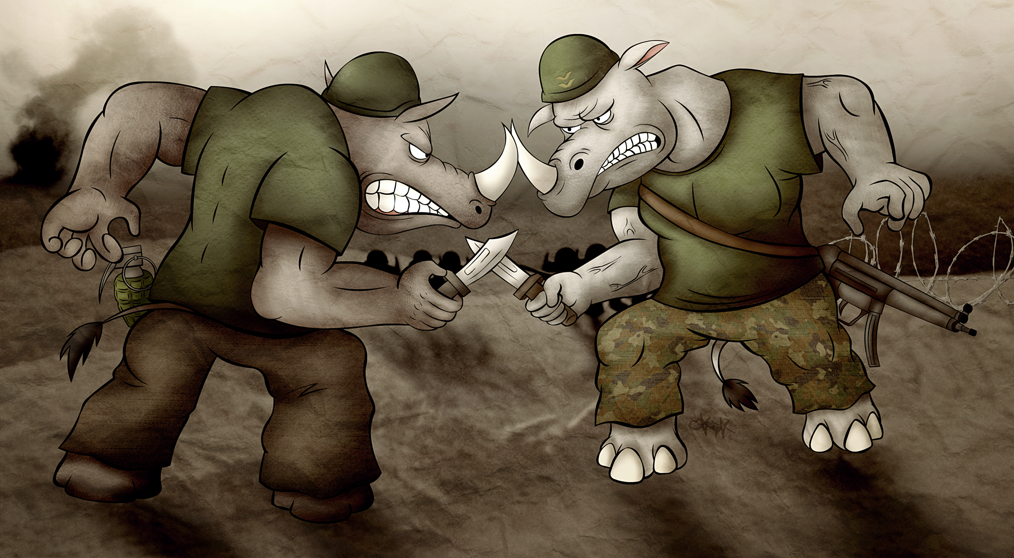 Rhino Rivalry by gagaman92