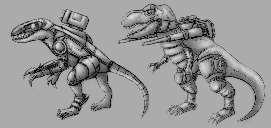 Dino-Mech Design by gagaman92