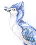 Happy Blue Troodon