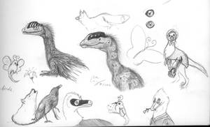 Dinosaur, Insect and Mammal Doodles