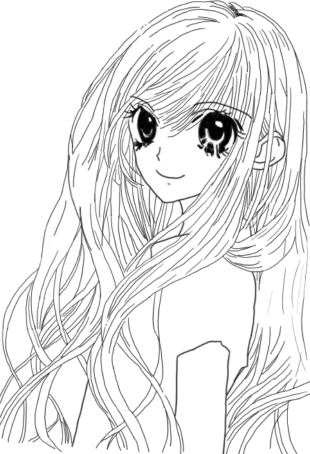 Anime Girl Long Hair Lineart By Loitumachan On DeviantArt