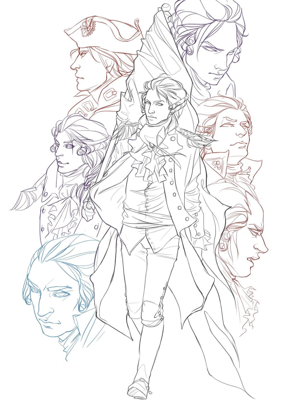 The Founders-- line art by NiccoloMachiavel