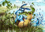 Glaceon and Leafeon playing x3