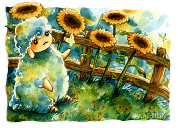 Sheep and Sunflowers (No. 2) by Diaris