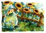 Sheep and Sunflowers (No. 2)