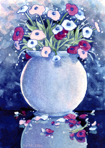 Vase of anemone flowers by Diaris