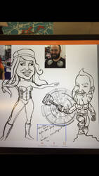 Thor and Poison Ivy in progress by Hamiltoons