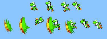 Yoshi's kick sprites