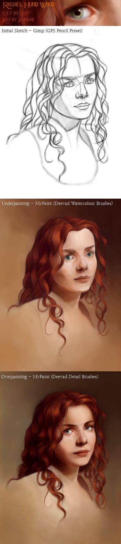 MyPaint / GIMP Process : Rachel Hurd Wood - Steps by Aliciane