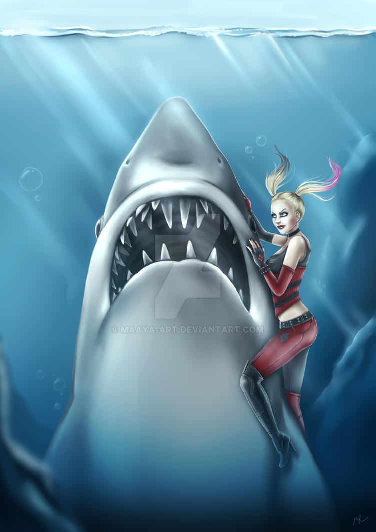 Harley Quinn and Jaws by MaayaInsane