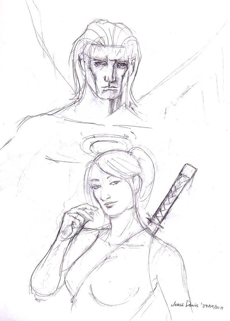 Angel and Psylocke - 270911 by jorgedonis