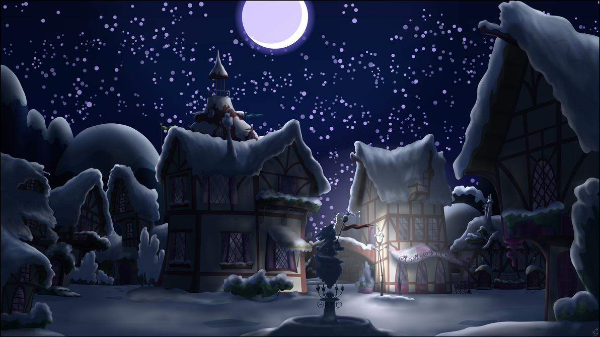 Ponyville Night, snowy by Stinkehund