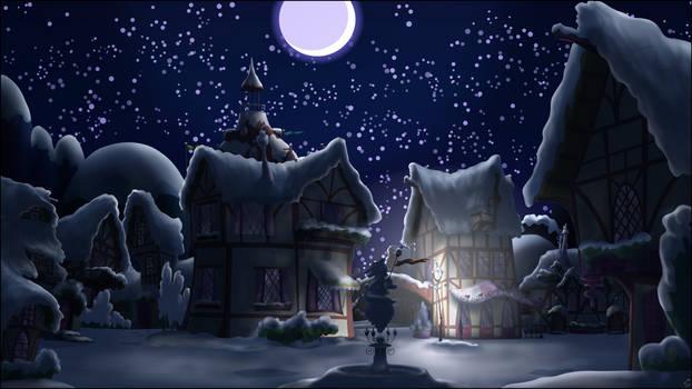 Ponyville Night, snowy