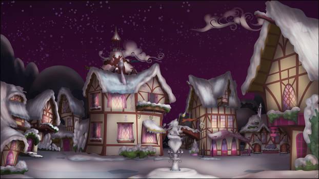 Ponyville Dusk, snowy