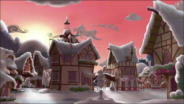 Ponyville Dawn, snowy