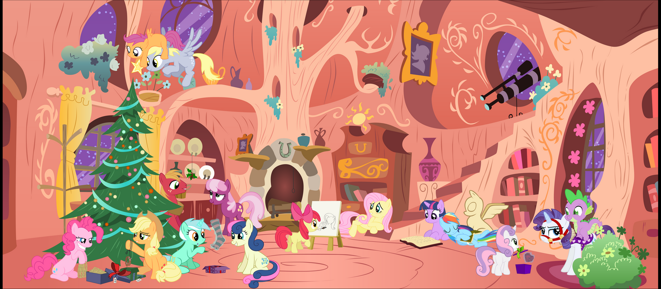 MLP Christmas Scene - vector by Stinkehund
