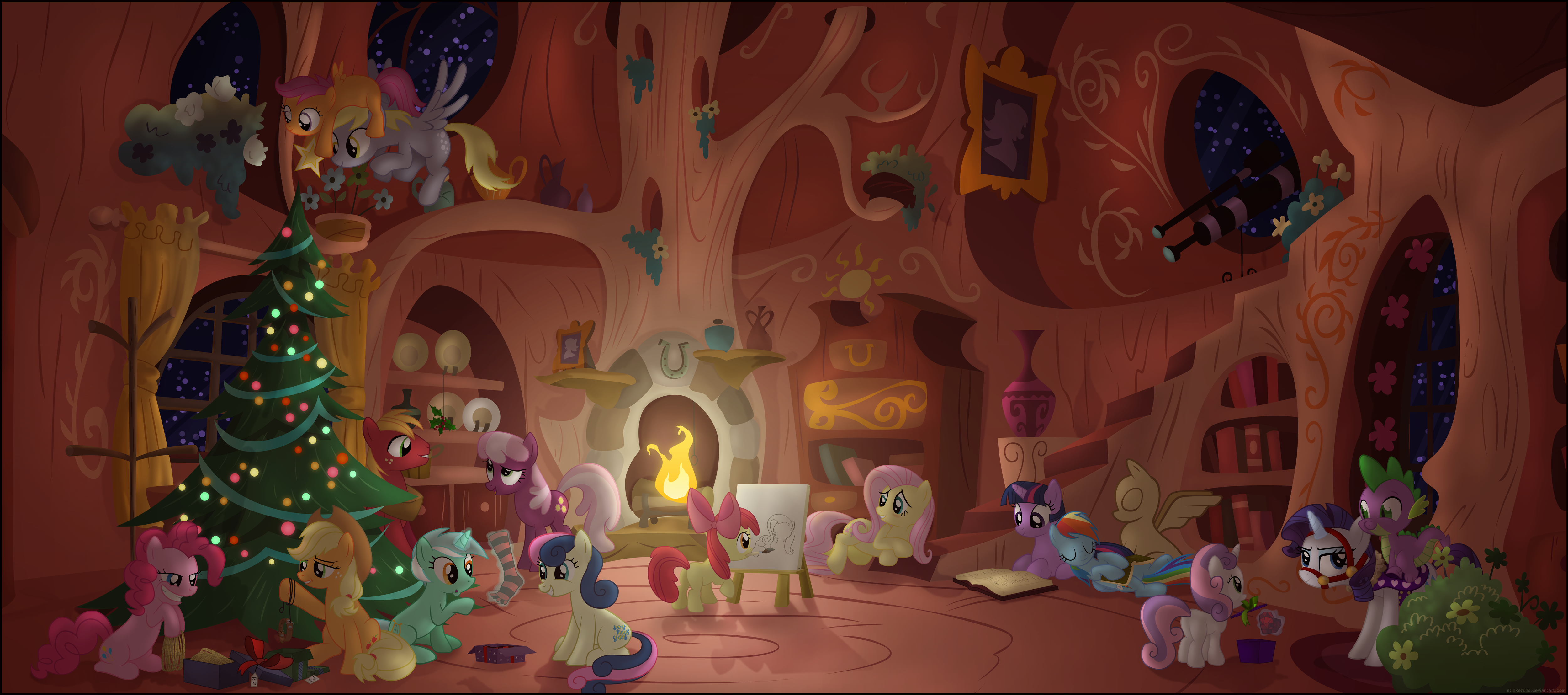 MLP Christmas Scene by Stinkehund