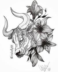 Taurus w flowers