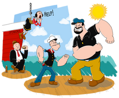 The Battle Between Popeye and Bluto