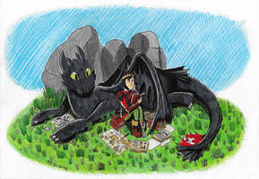 HTTYD Fanart #3 - Toothless n' Hiccup's Break Time by FTFTheAdvanceToonist