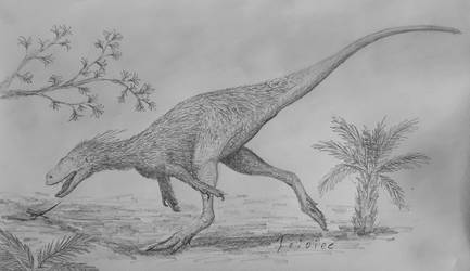 Tanycolagreus chasing a lizard sketch