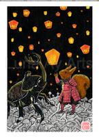 O Guerreiro Esquilo - Noite das lanternas by LunaAyArts