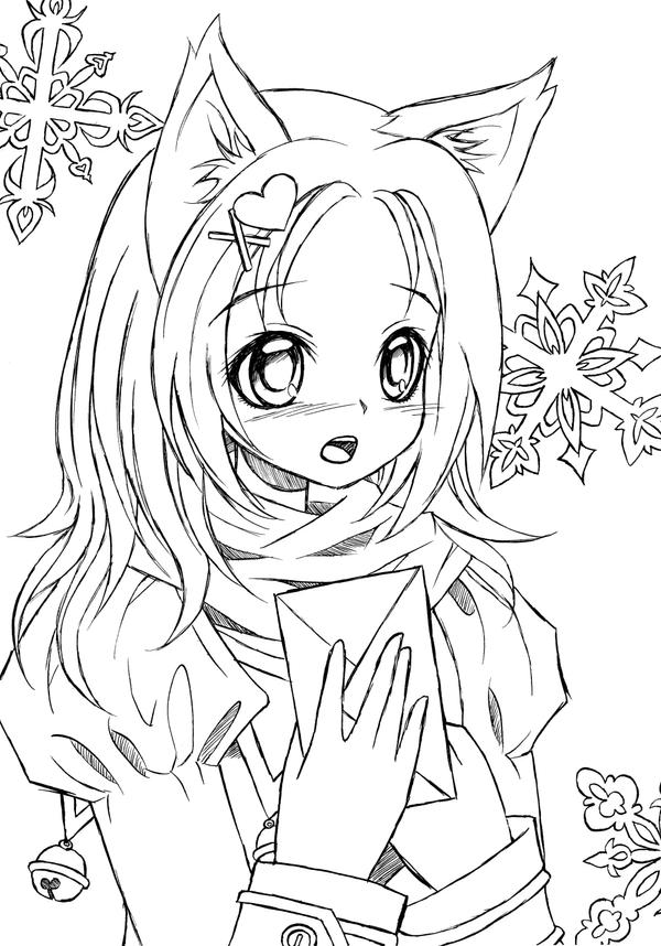 cat girl anime coloring pages - photo#13
