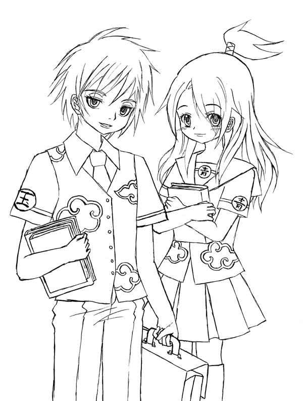 Anime School Uniform Drawing Sketch Coloring Page