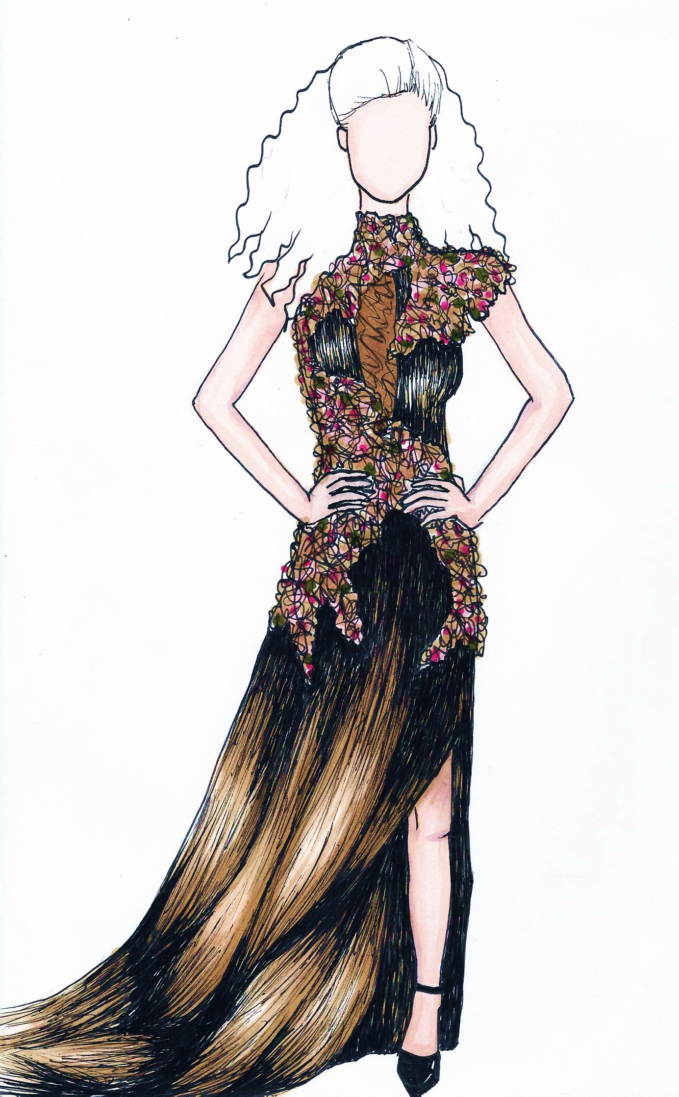 vogue inspired fashion drawing by charlottealbertine on
