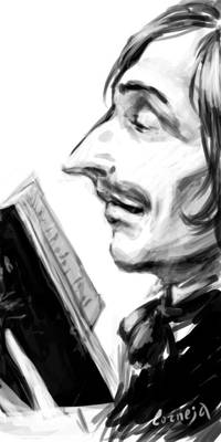 Gogol with a book. Sketch