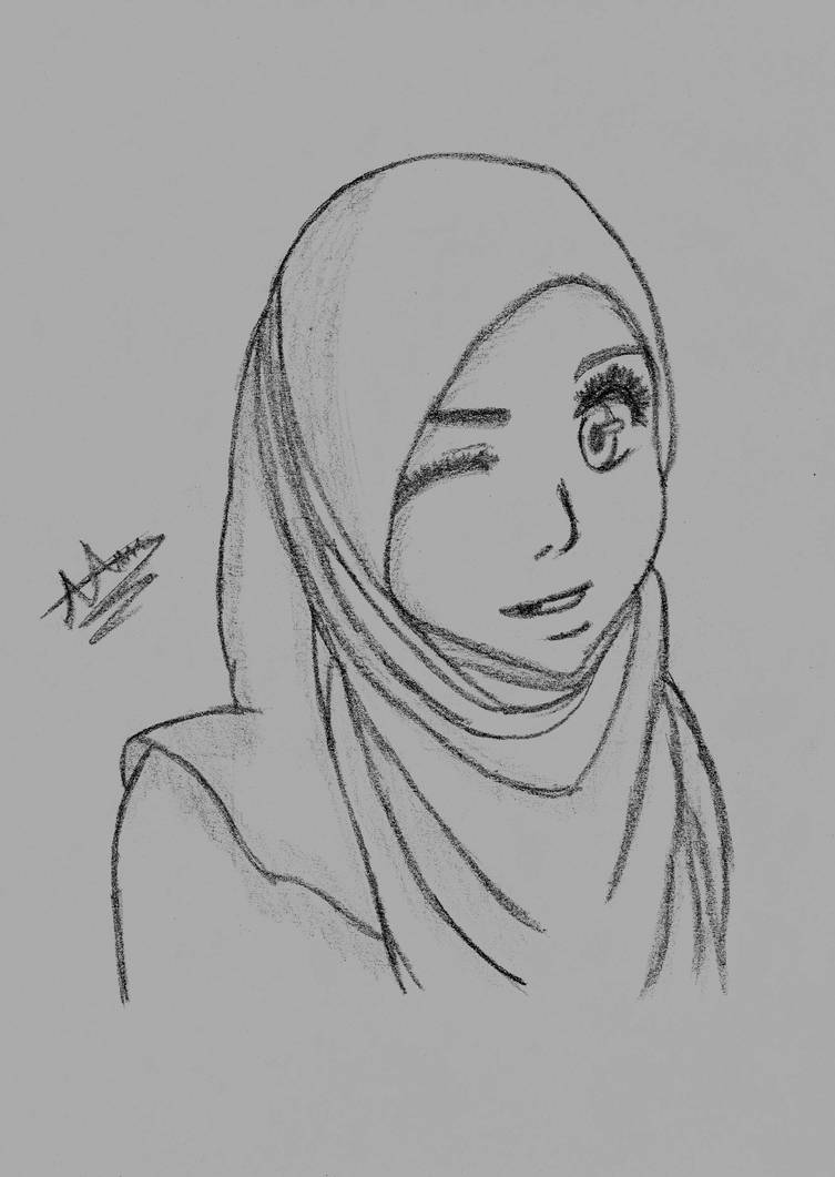 Cute hijab wearing girl by pixetomics