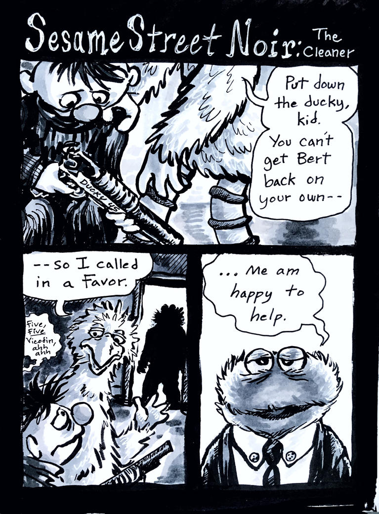 Sesame Street Noir: The Cleaner by Magzdilla