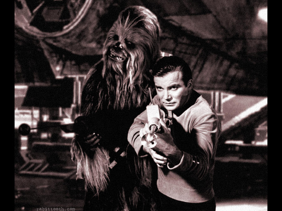 Chewbacca and Captain Kirk by Rabittooth