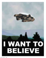 Millennium Falcon X files I Want to Believe Poster