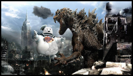 Godzilla vs The Stay Puft Marshmallow Man by Rabittooth