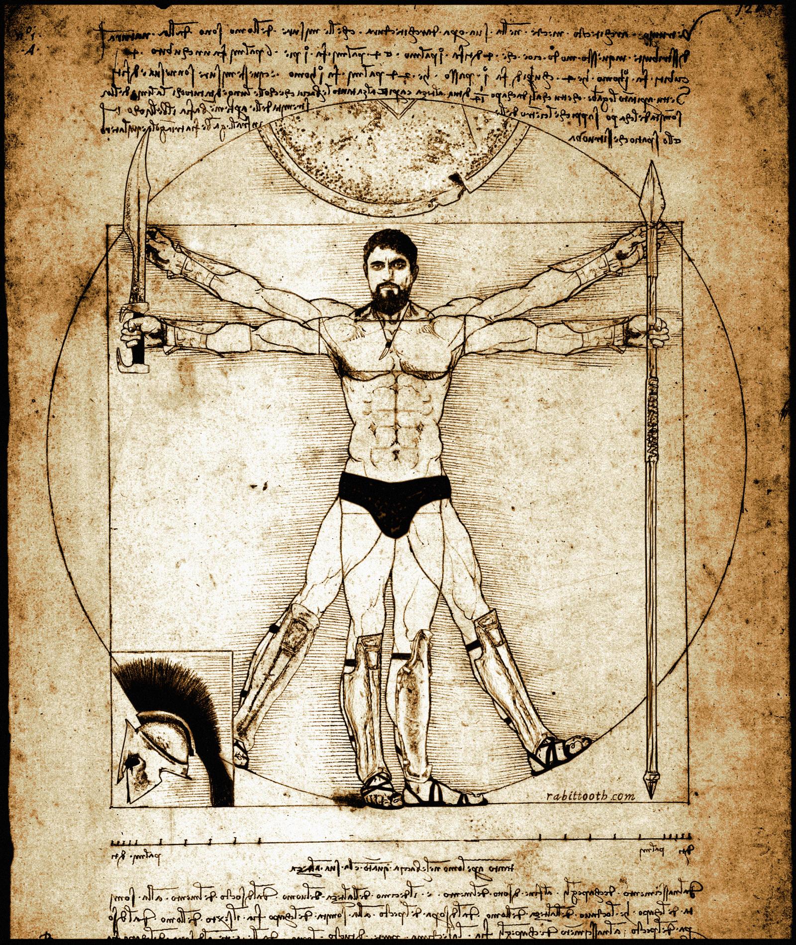 King Leonidas da Vinci Vitruvian Man by Rabittooth