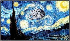 Starry Night with Millennium Falcon