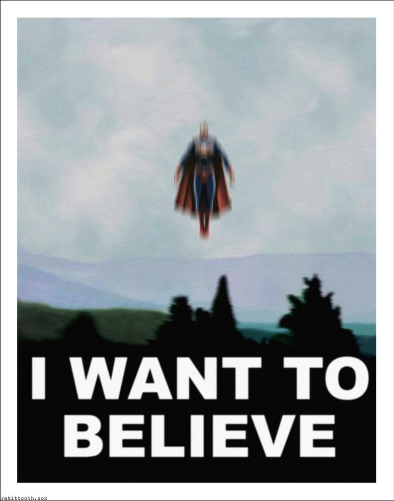 Superman / X-Files I Want To Believe Poster Mashup by Rabittooth