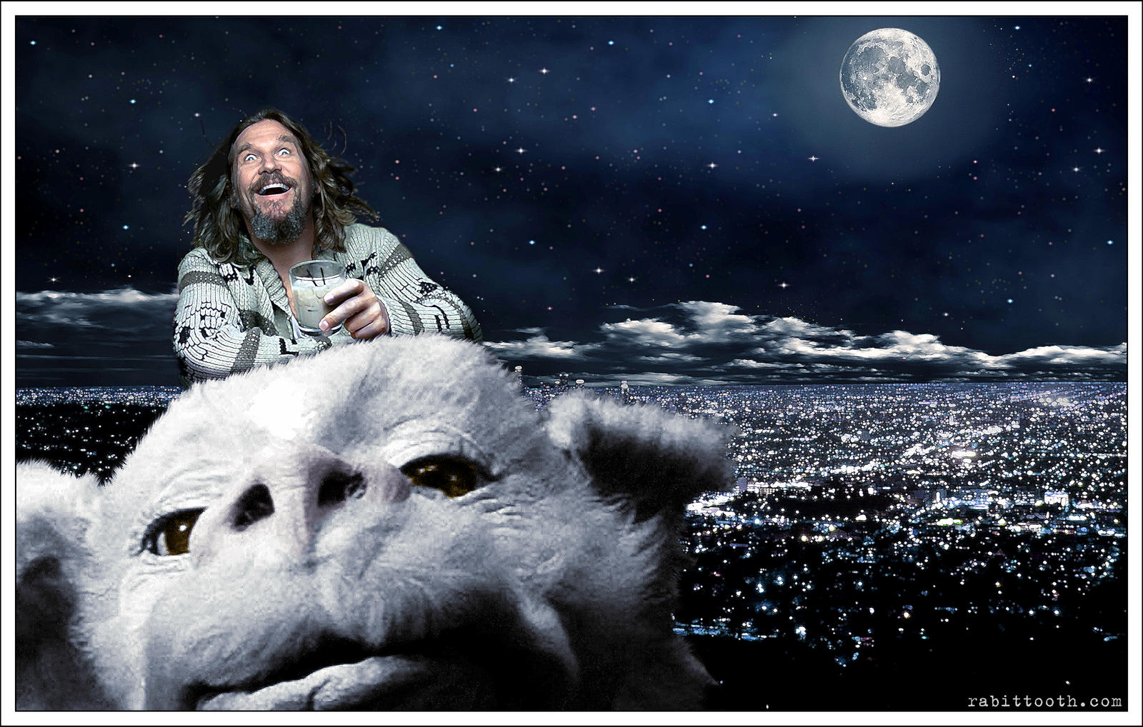 Dude Riding Falcor (Lebowski / Neverending Story) by Rabittooth