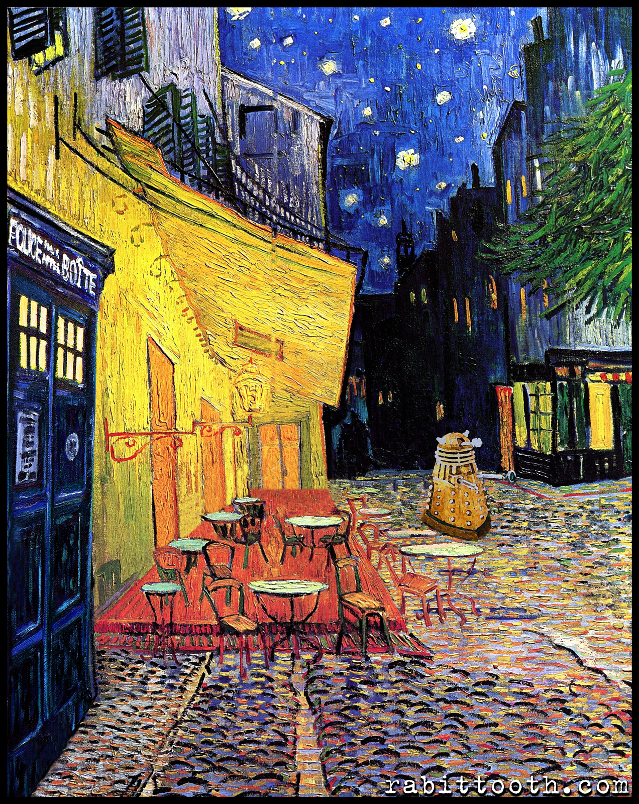 Dr Who At Cafe Terrace Dr Who Van Gogh By Rabittooth On