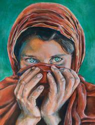 Sharbat Gula (the Afghan girl) by jeroenvv