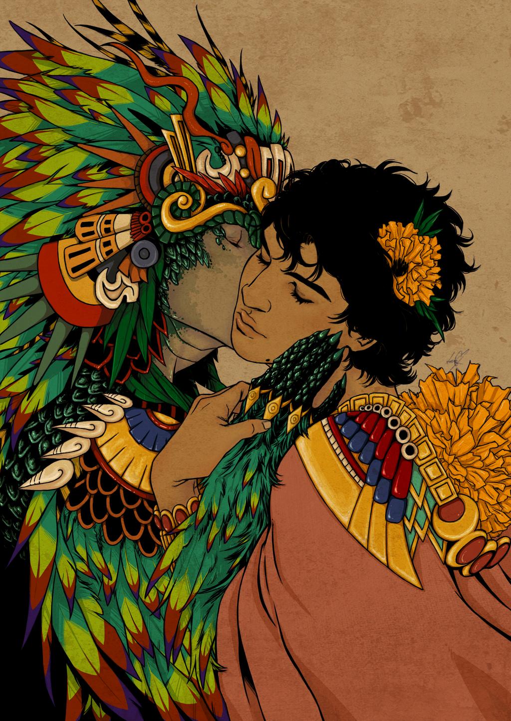Quetzalcoatl and Mictlantecuhtli by oldshuck