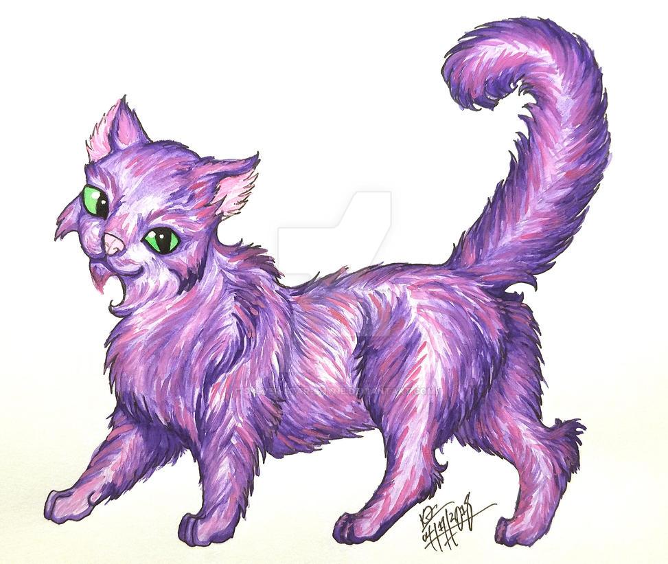 Purple Kitty by Sylver-Star-Shyne