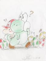 Yoshi and Mario by KirbySuperStar96