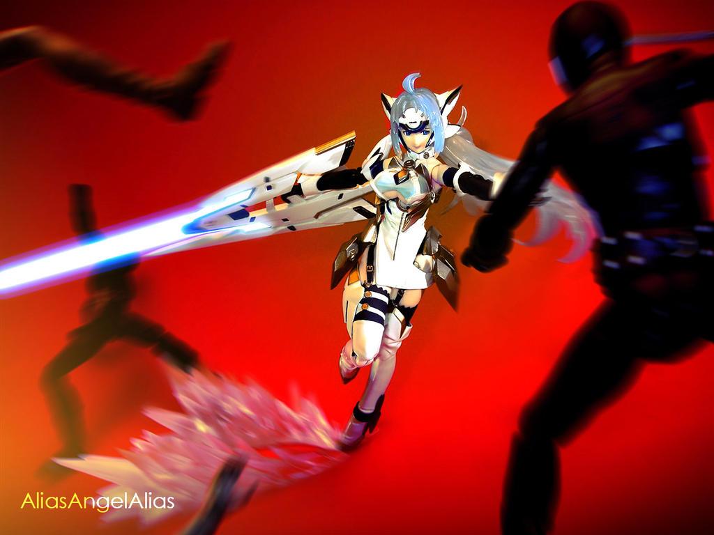 KOS-MOS against Shocker Combatmen 01 by aliasangel2005
