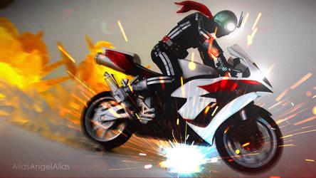 Cyclone Kamen Rider Ichigo on the Run