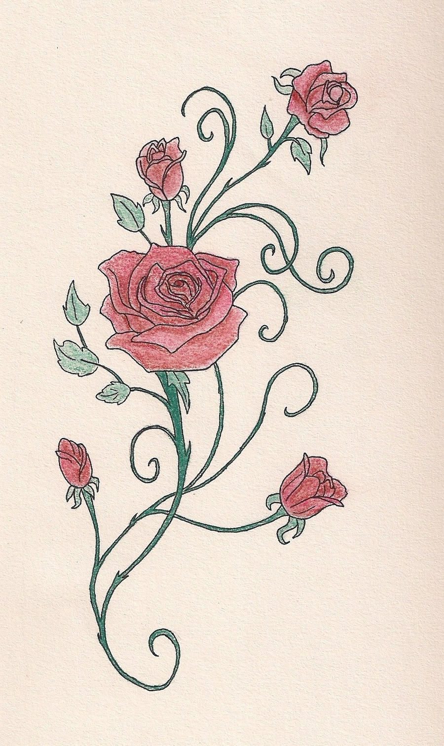Rose vine with pastels by a quily on deviantart for Rose and vine tattoo